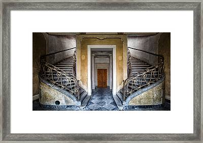 Light Above The Stairs - Urban Exploration Framed Print by Dirk Ercken