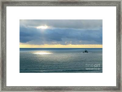 Framed Print featuring the photograph Light And Lighthouse by Suzette Kallen