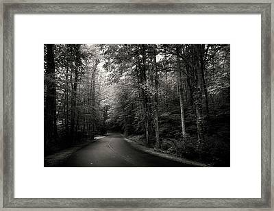 Light And Shadow On A Mountain Road In Black And White Framed Print
