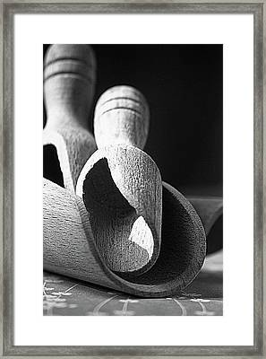 Light And Shadows On Wooden Spoons  Framed Print