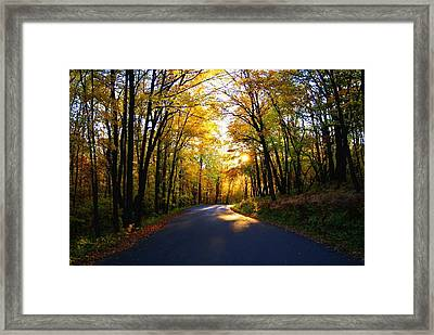 Light At The End Of The Road Framed Print by Joe Medina