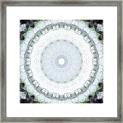 Light Blue Mandala- Art By Linda Woods Framed Print by Linda Woods
