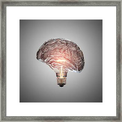 Light Bulb Brain Framed Print by Johan Swanepoel