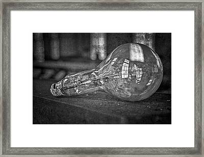 Light Bulb Bw Framed Print by Susan Candelario