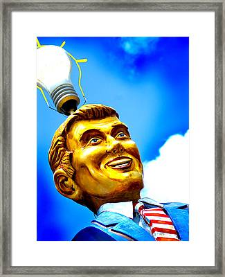 Light Bulb Man Framed Print