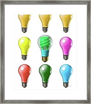 Light Bulbs Of A Different Color Framed Print