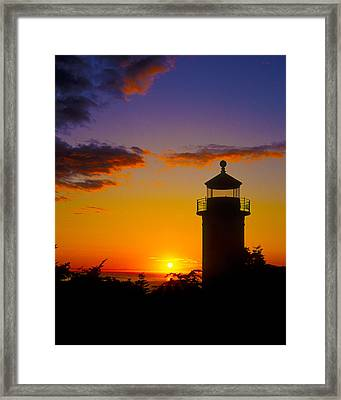 Light House At Fort Casey Washington Framed Print by Gary Langley