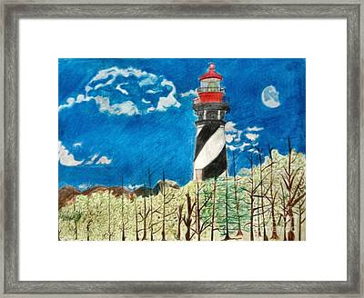 Light House By The Sea Framed Print
