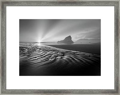 Light In The Dark Black And White Framed Print by Debra and Dave Vanderlaan