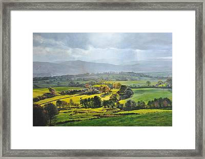 Light In The Valley At Rhug. Framed Print by Harry Robertson