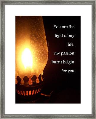 Light Of My Life Framed Print by Katie Burris