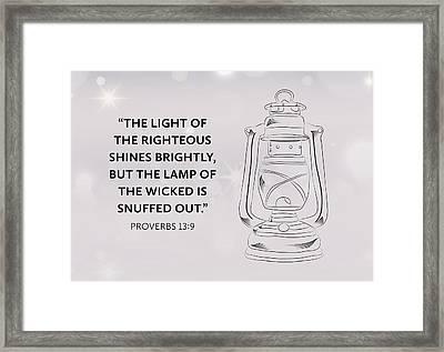 Light Of Righteous Framed Print by Nancy Ingersoll