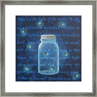 Light Of The World Fireflies Framed Print by Mary Charles
