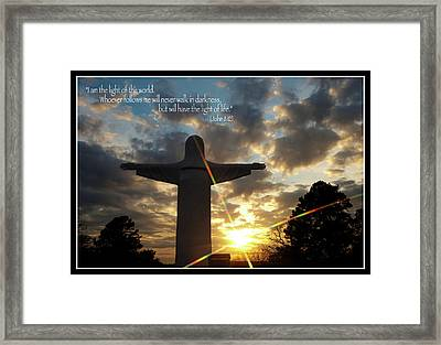 Light Of The World - Inspirational Scripture Message Framed Print by Gregory Ballos