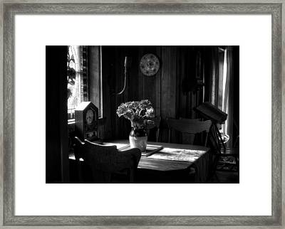 Light On Table Framed Print