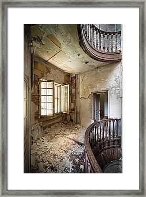 Light On The Balcony - Abandoned Castle Framed Print by Dirk Ercken