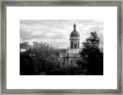 Light On The Courthouse In Black And White Framed Print