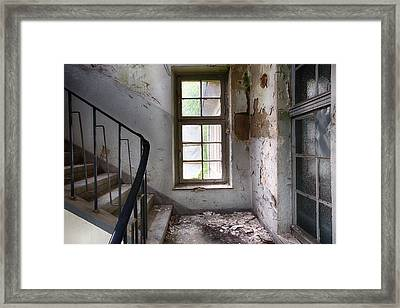 Light On The Stairs - Abandoned Building Framed Print by Dirk Ercken