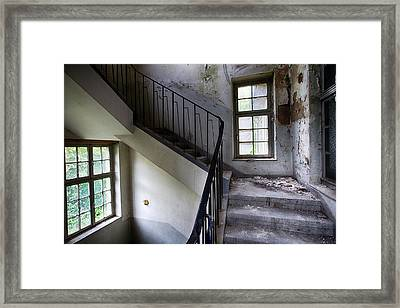 Light On The Stairs - Abandoned Buildings Framed Print by Dirk Ercken