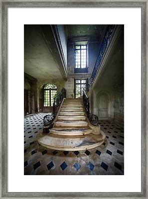 Framed Print featuring the photograph Light On The Stairs - Abandoned Castle by Dirk Ercken