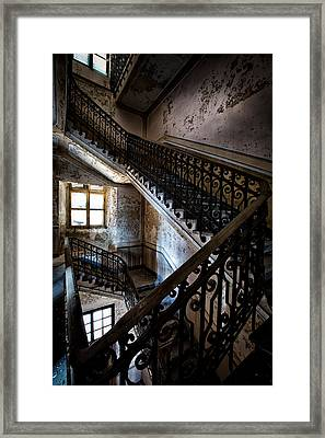 Light On The Stairs - Urban Exploration Framed Print
