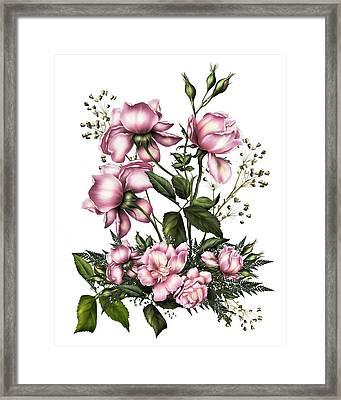 Light Pink Roses On White Framed Print by Georgiana Romanovna