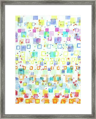 Light Squares With Drops Pattern  Framed Print by Heidi Capitaine
