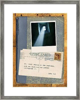 Light Through Window And Scripture Framed Print by Jill Battaglia