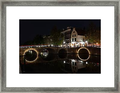 Light Trails And Circles - Reflecting On Magical Amsterdam Canals Framed Print by Georgia Mizuleva