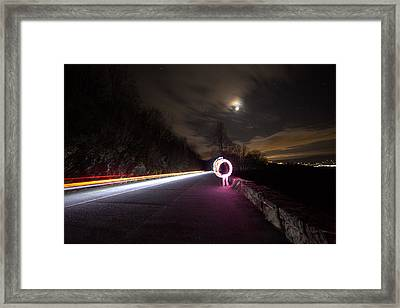 Light Trails And Painting Framed Print by Shannon Louder