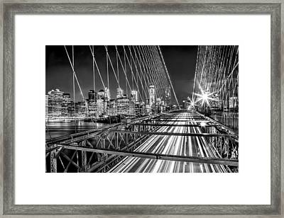Light Trails Of Manhattan Framed Print by Az Jackson