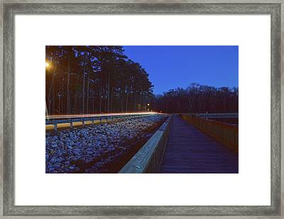 Light Trails On Elbow Road Framed Print