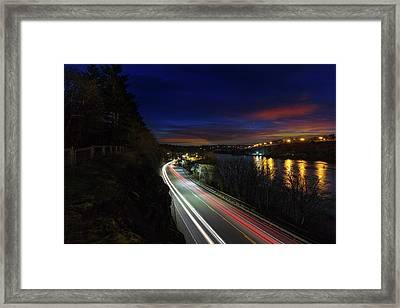 Light Trails On Highway 99 Framed Print by David Gn