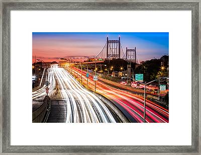 Light Trails On I-278 Near Triboro Bridge Framed Print