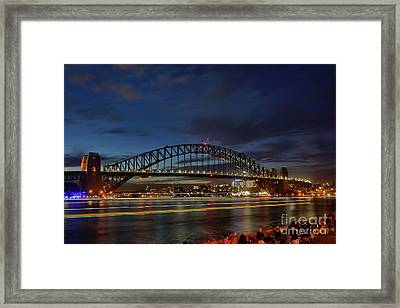 Framed Print featuring the photograph Light Trails On The Harbor By Kaye Menner by Kaye Menner