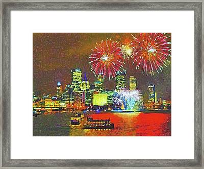 Framed Print featuring the digital art Light Up Night In Pittsburgh by Digital Photographic Arts