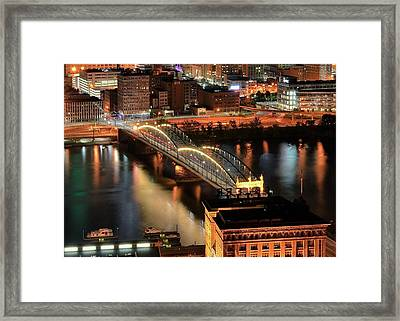 Lighted Bridge Framed Print by Frozen in Time Fine Art Photography