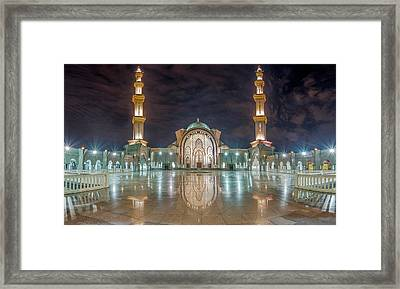 Framed Print featuring the photograph Lighted Federal Territory Mosque  by Pradeep Raja Prints