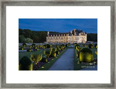 Lighted Gardens Of Chenonceau Framed Print