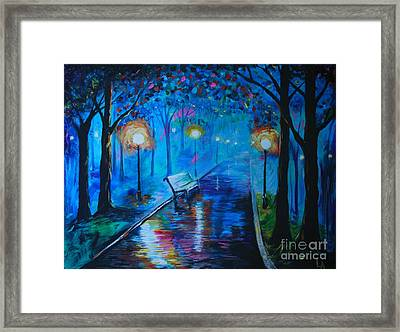 Framed Print featuring the painting Lighted Parkway by Leslie Allen