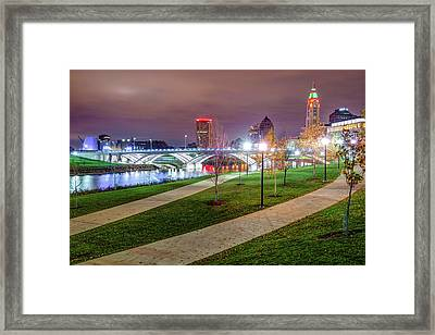 Lighted Walkway To The Columbus Skyline Framed Print