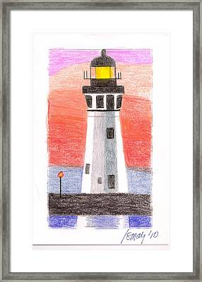 Framed Print featuring the painting Lighthouse 5 by Rod Ismay