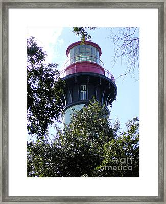 Lighthouse Among The Live Oaks Framed Print by Barbara Oberholtzer