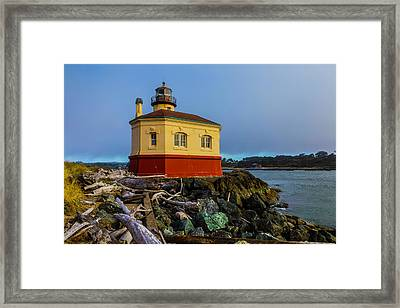 Lighthouse And Driftwood Framed Print by Garry Gay