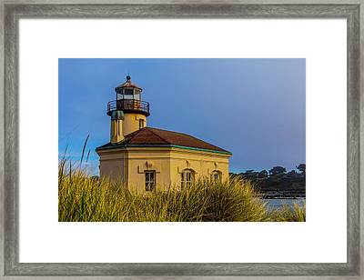 Lighthouse And Dune Grass Framed Print by Garry Gay
