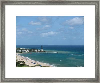 Lighthouse And Kiteboarding Framed Print