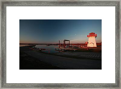Lighthouse And Marina At Hecla In Manitoba Framed Print