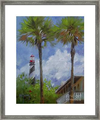 Lighthouse And Palms Framed Print by Mary Hubley