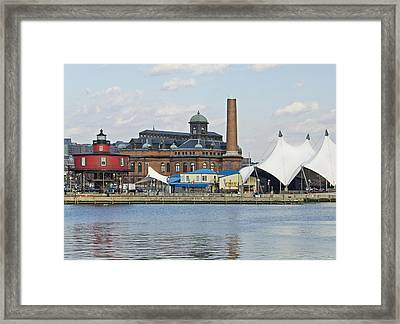 Lighthouse And Pier 6 - Baltimore Framed Print by Brendan Reals