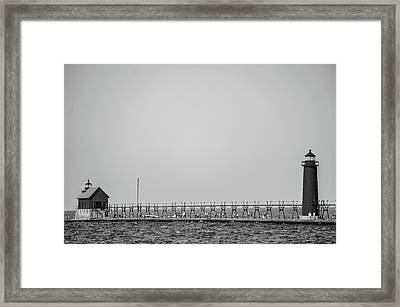 Lighthouse And Pier Grand Haven Michigan In Black And White Framed Print